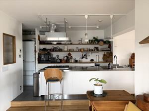 最も力を入れたというアイランドキッチン+オープンシェルフ。アイランドキッチンはサンワカンパニーの「エレバートex」をチョイス