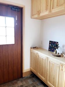 タイルの配色も気に入っている玄関。