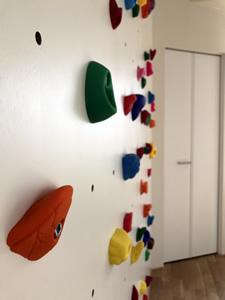 「寝室」棟にある子供部屋は、広いワンルームで、将来3等分する予定。今はボルダリング用のウォールを設け、天井からロープを吊り下げて、ワイワイ遊べるつくりに